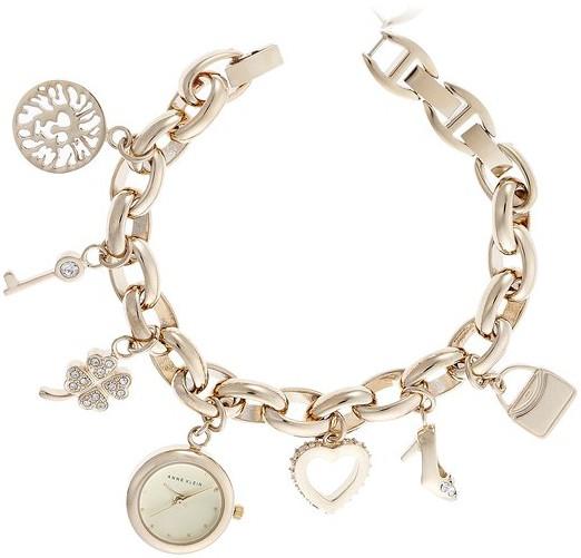 Anne Klein Women's 10-7604CHRM Swarovski Crystal Gold-Tone Charm Bracelet Watch -- $62.29